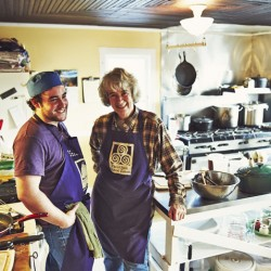 Chef Rob Handel and farmer Carol Clement